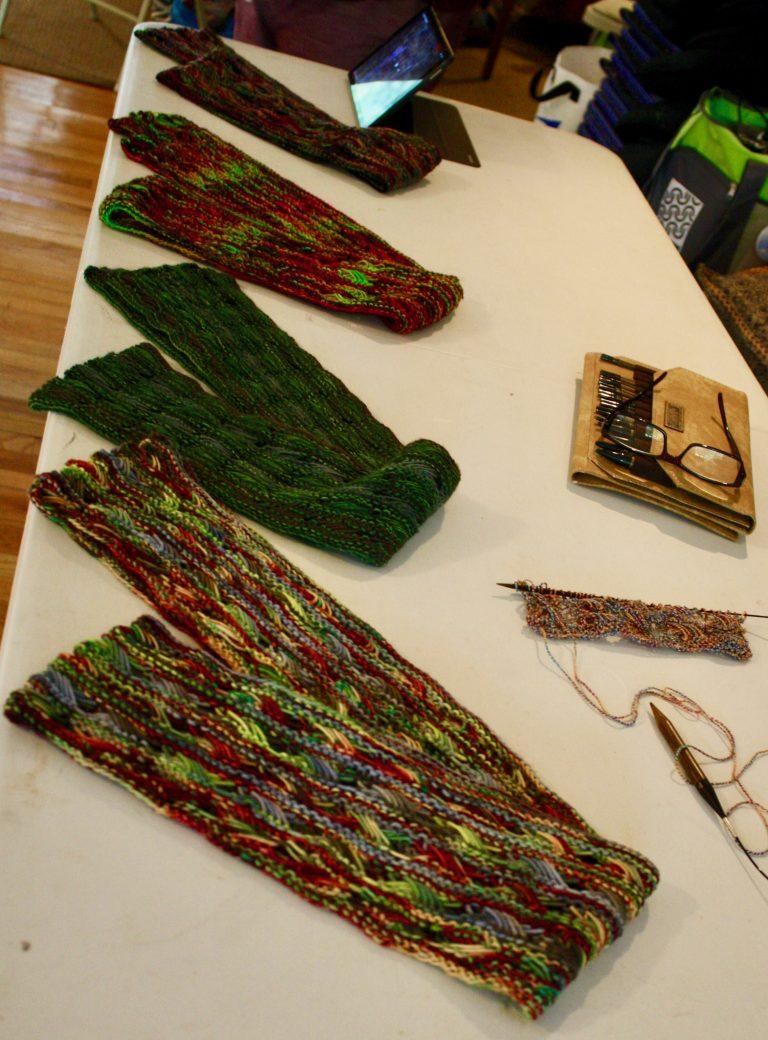 2018 Northeast Men's Fall Knitting Retreat workshop table